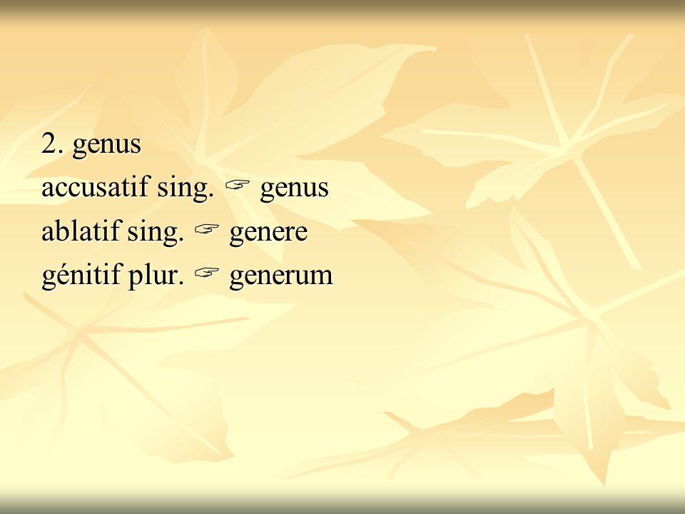 2. genus accusatif sing.  genus ablatif sing.  genere génitif plur.  generum