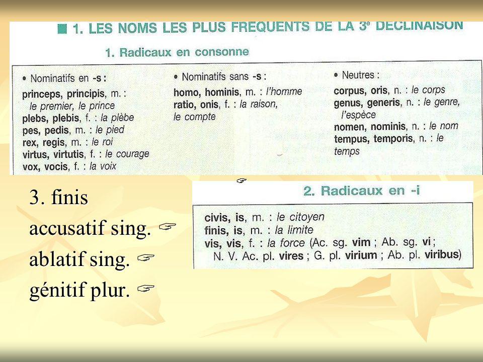 3. finis accusatif sing.  ablatif sing.  génitif plur.  