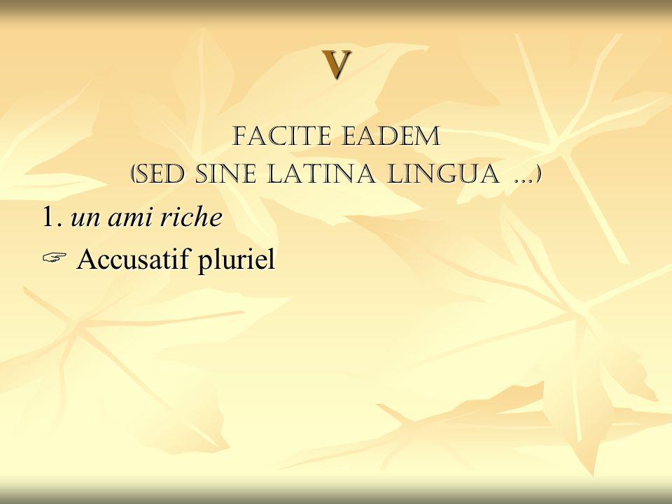 V Facite eadem (sed sine latina lingua …) 1. un ami riche  Accusatif pluriel
