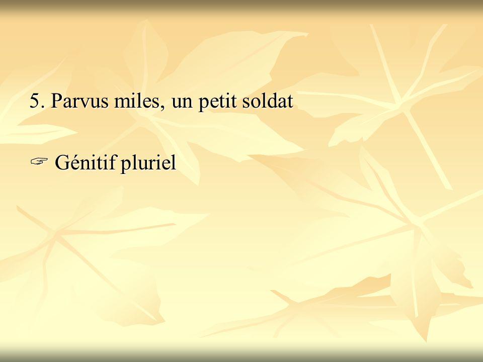 5. Parvus miles, un petit soldat  Génitif pluriel
