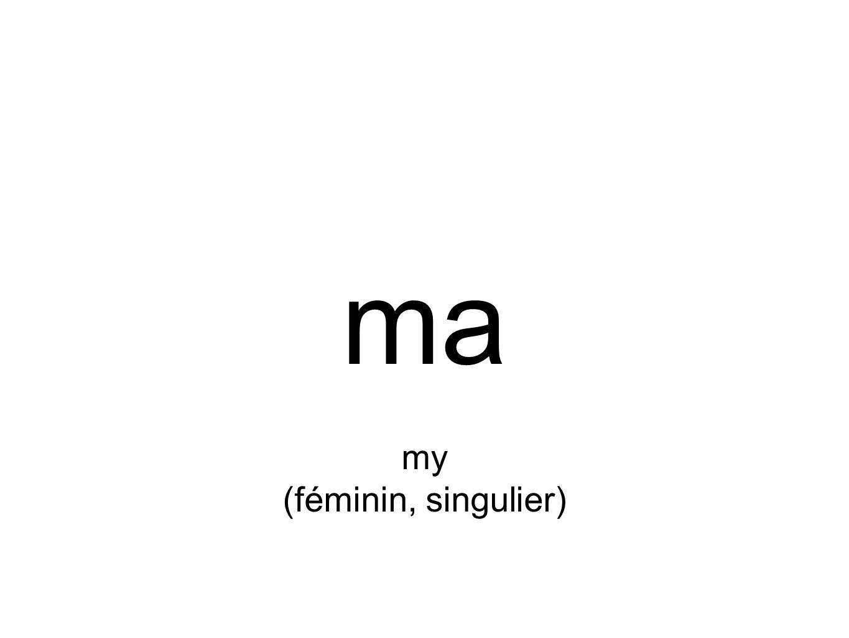 ma my (féminin, singulier)