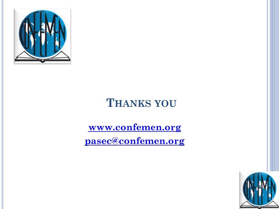 T HANKS YOU www.confemen.org pasec@confemen.org