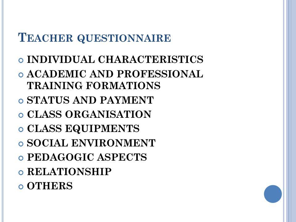 T EACHER QUESTIONNAIRE INDIVIDUAL CHARACTERISTICS Include : gender, age, etc.