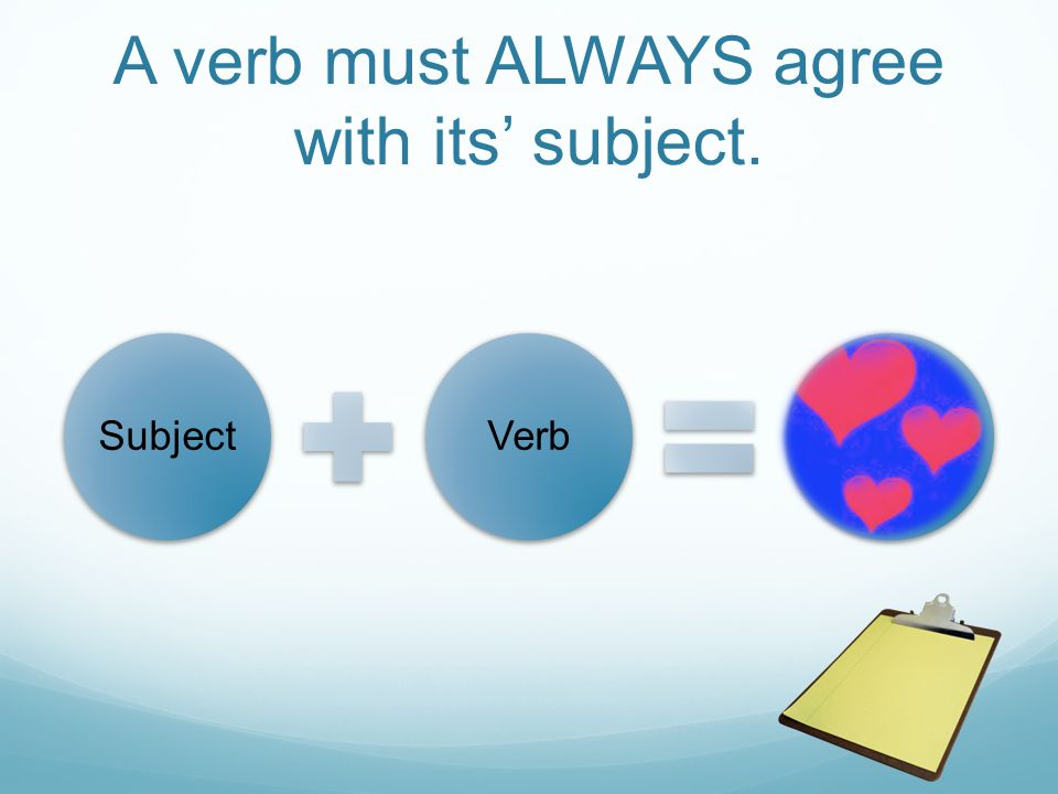A verb must ALWAYS agree with its' subject. SubjectVerb