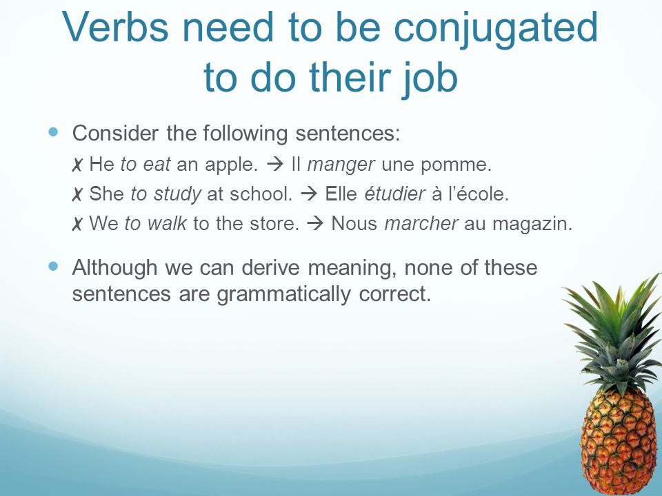 Verbs need to be conjugated to do their job Consider the following sentences: ✗ He to eat an apple.  Il manger une pomme. ✗ She to study at school. 