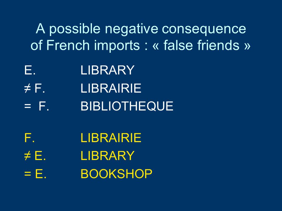 A possible negative consequence of French imports : « false friends » E.LIBRARY ≠ F. LIBRAIRIE = F.BIBLIOTHEQUE F.LIBRAIRIE ≠ E.LIBRARY = E.BOOKSHOP