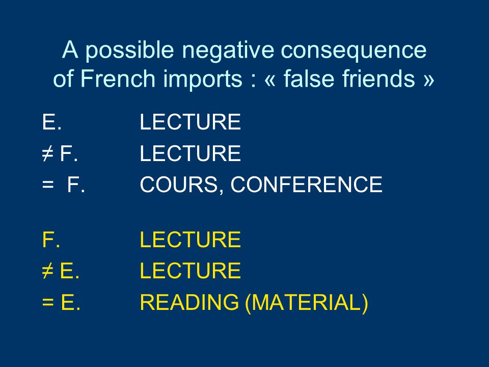 A possible negative consequence of French imports : « false friends » E.LECTURE ≠ F.