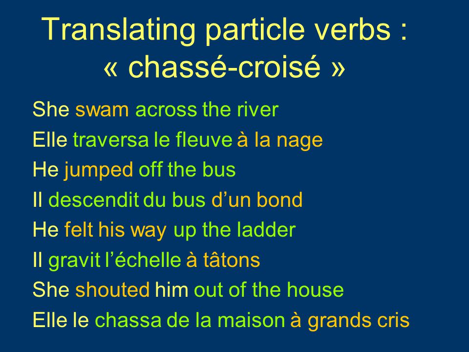 Translating particle verbs : « chassé-croisé » She swam across the river Elle traversa le fleuve à la nage He jumped off the bus Il descendit du bus d'un bond He felt his way up the ladder Il gravit l'échelle à tâtons She shouted him out of the house Elle le chassa de la maison à grands cris She swam across the river Elle traversa le fleuve à la nage He jumped off the bus Il descendit du bus d'un bond He felt his way up the ladder Il gravit l'échelle à tâtons She shouted him out of the house Elle le chassa de la maison à grands cris