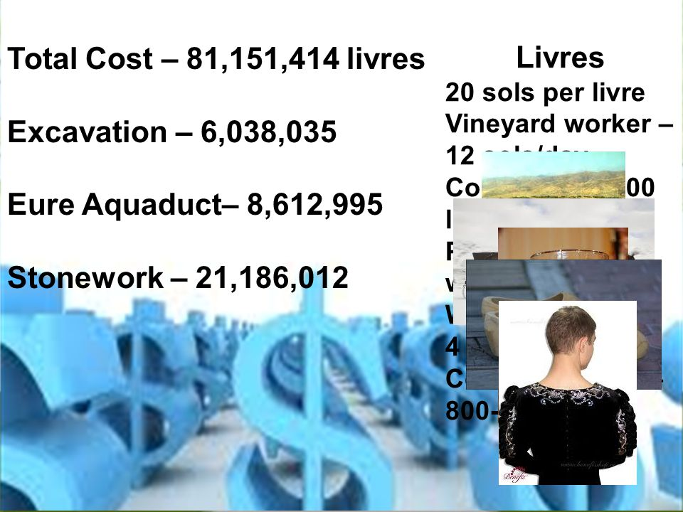 Total Cost – 81,151,414 livres Excavation – 6,038,035 Eure Aquaduct– 8,612,995 Stonework – 21,186,012 Livres 20 sols per livre Vineyard worker – 12 sols/day Coachman – 100 livres/year Pint of decent wine – 4 sols Wooden shoes – 4 sols Courtier's tunic – 800-1000 livres