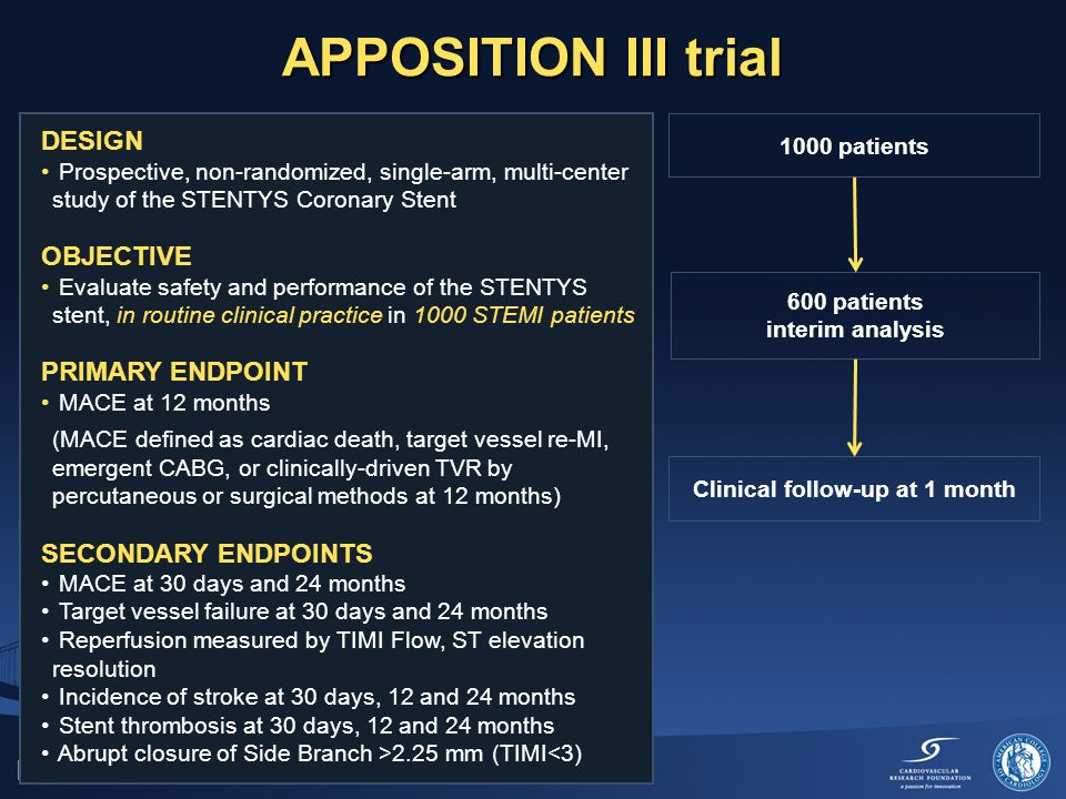 APPOSITION III trial DESIGN Prospective, non-randomized, single-arm, multi-center study of the STENTYS Coronary Stent OBJECTIVE Evaluate safety and performance of the STENTYS stent, in routine clinical practice in 1000 STEMI patients PRIMARY ENDPOINT MACE at 12 months (MACE defined as cardiac death, target vessel re-MI, emergent CABG, or clinically-driven TVR by percutaneous or surgical methods at 12 months) SECONDARY ENDPOINTS MACE at 30 days and 24 months Target vessel failure at 30 days and 24 months Reperfusion measured by TIMI Flow, ST elevation resolution Incidence of stroke at 30 days, 12 and 24 months Stent thrombosis at 30 days, 12 and 24 months Abrupt closure of Side Branch >2.25 mm (TIMI<3) 1000 patients 600 patients interim analysis Clinical follow-up at 1 month