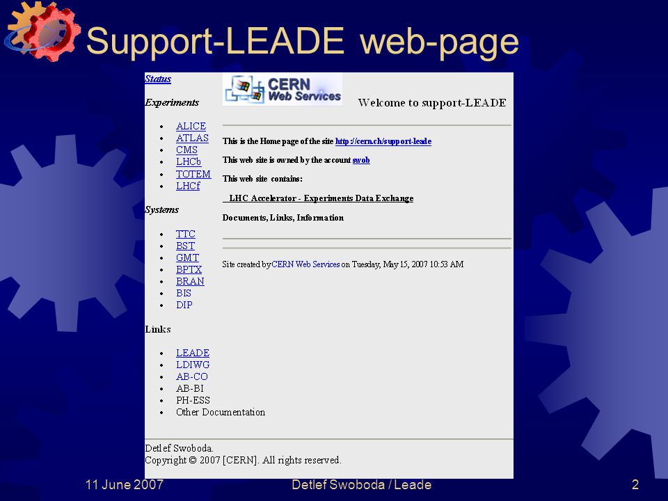 11 June 2007Detlef Swoboda / Leade2 Support-LEADE web-page