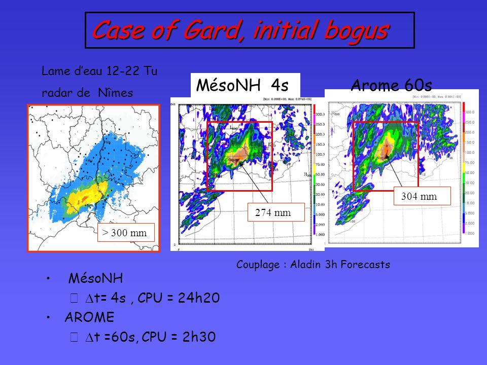 Arome 60s Case of Gard, initial bogus Lame d'eau 12-22 Tu radar de Nîmes > 300 mm Couplage : Aladin 3h Forecasts MésoNH 4s 304 mm 274 mm MésoNH –  t= 4s, CPU = 24h20 AROME –  t =60s, CPU = 2h30