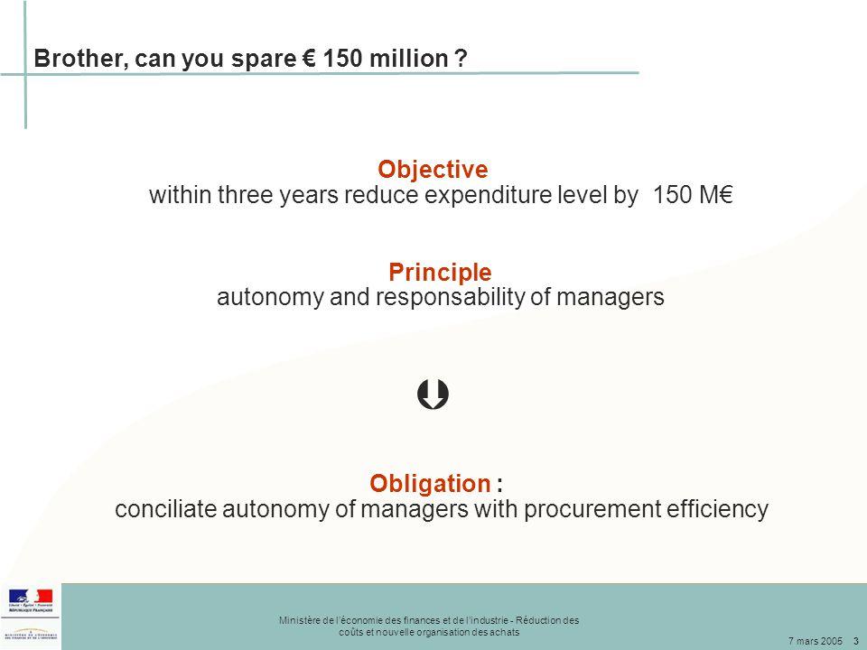 Ministère de l'économie des finances et de l'industrie - Réduction des coûts et nouvelle organisation des achats 7 mars 20053 Brother, can you spare € 150 million .