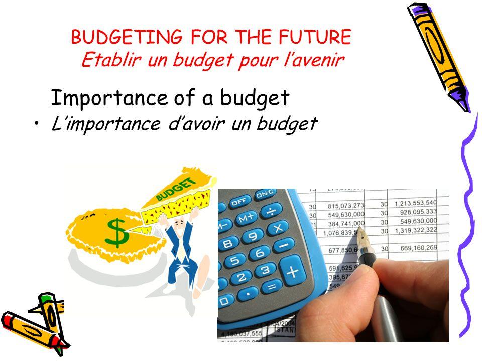 BUDGETING FOR THE FUTURE Etablir un budget pour l'avenir Importance of a budget L'importance d'avoir un budget