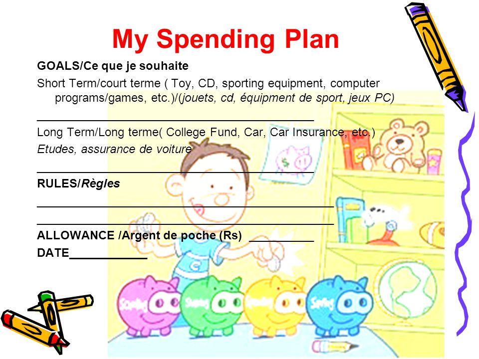 My Spending Plan GOALS/Ce que je souhaite Short Term/court terme ( Toy, CD, sporting equipment, computer programs/games, etc.)/(jouets, cd, équipment