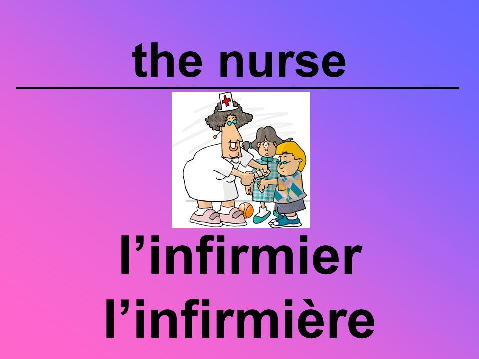 the nurse l'infirmier l'infirmière