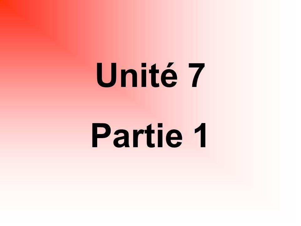 Unité 7 Partie 1