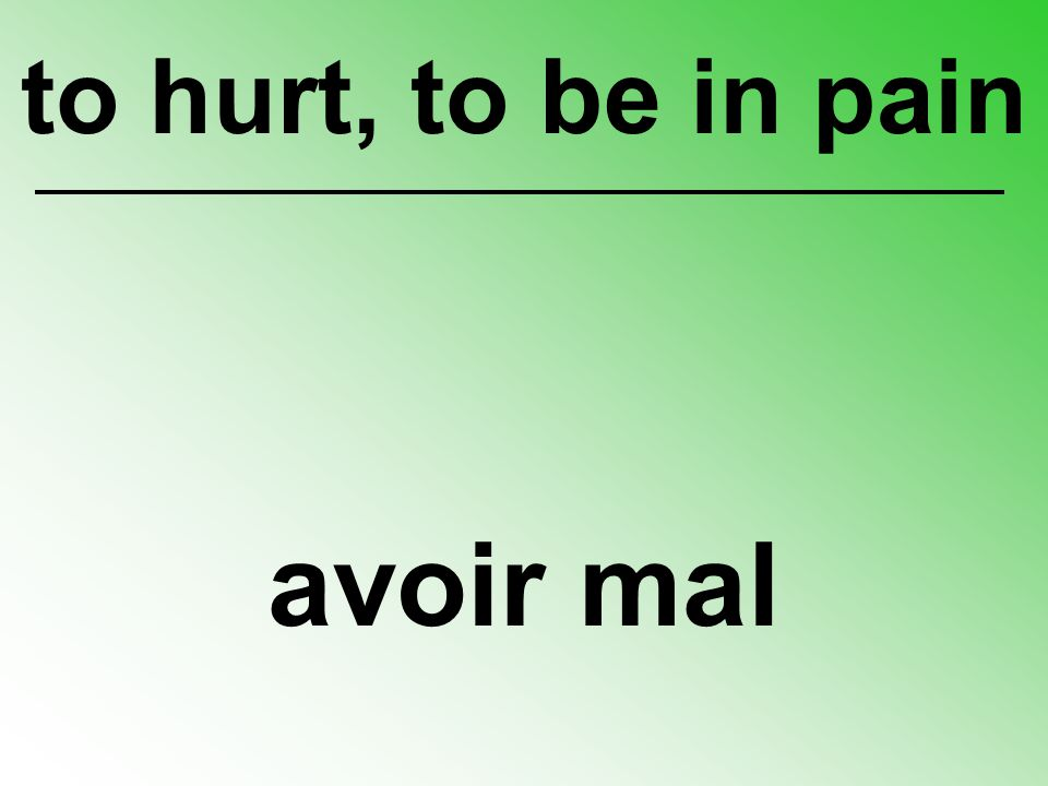 avoir mal to hurt, to be in pain