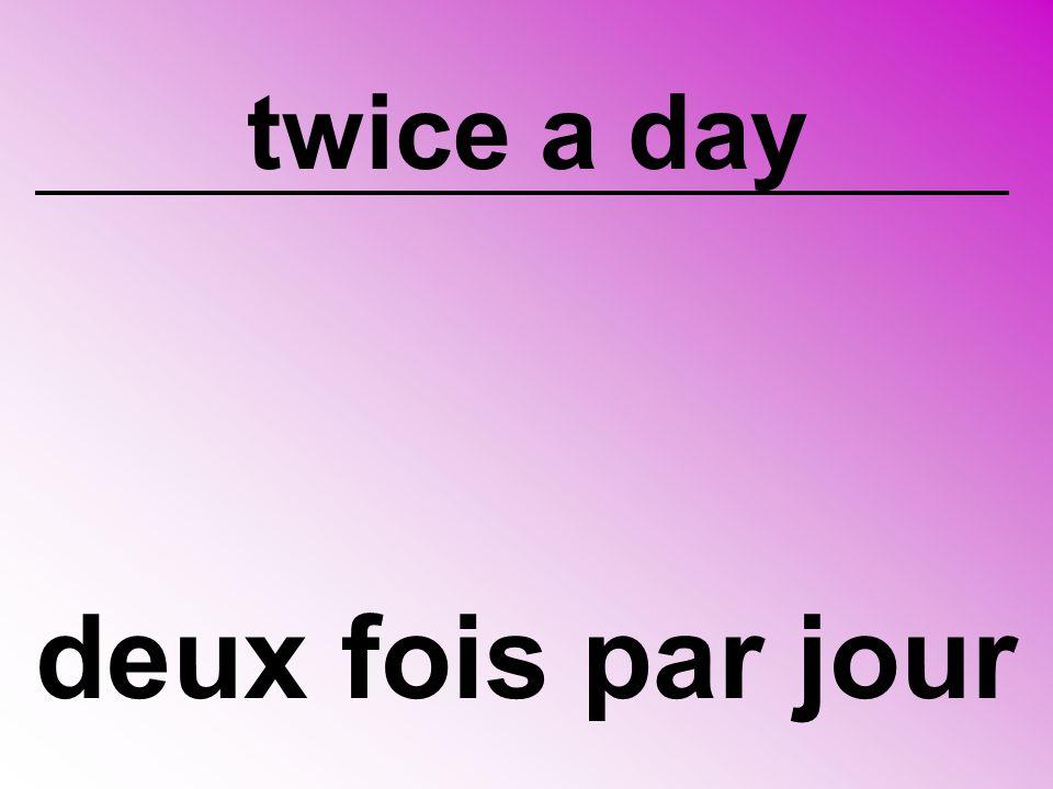 twice a day deux fois par jour