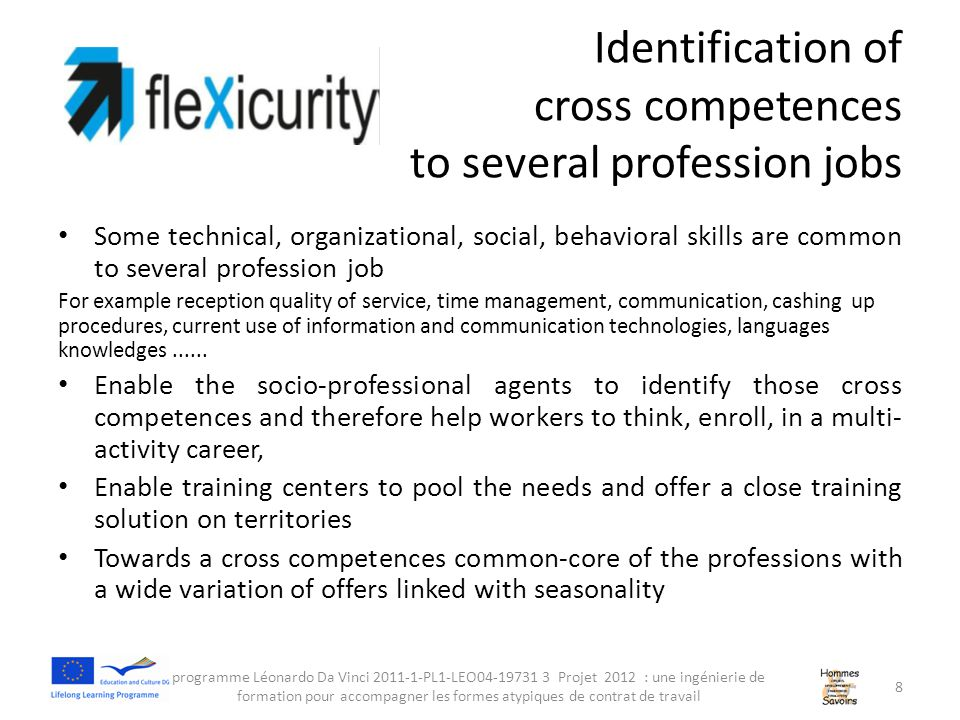 Identification of cross competences to several profession jobs Some technical, organizational, social, behavioral skills are common to several profession job For example reception quality of service, time management, communication, cashing up procedures, current use of information and communication technologies, languages knowledges......