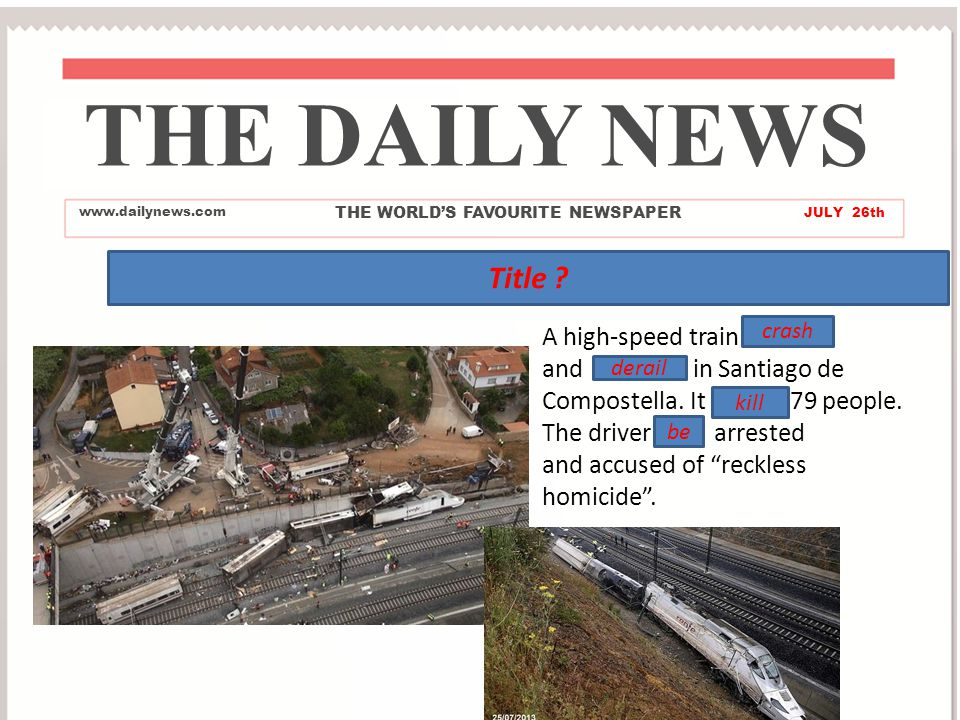 Train Crash THE DAILY NEWS www.dailynews.com THE WORLD'S FAVOURITE NEWSPAPER JULY 26th Title .