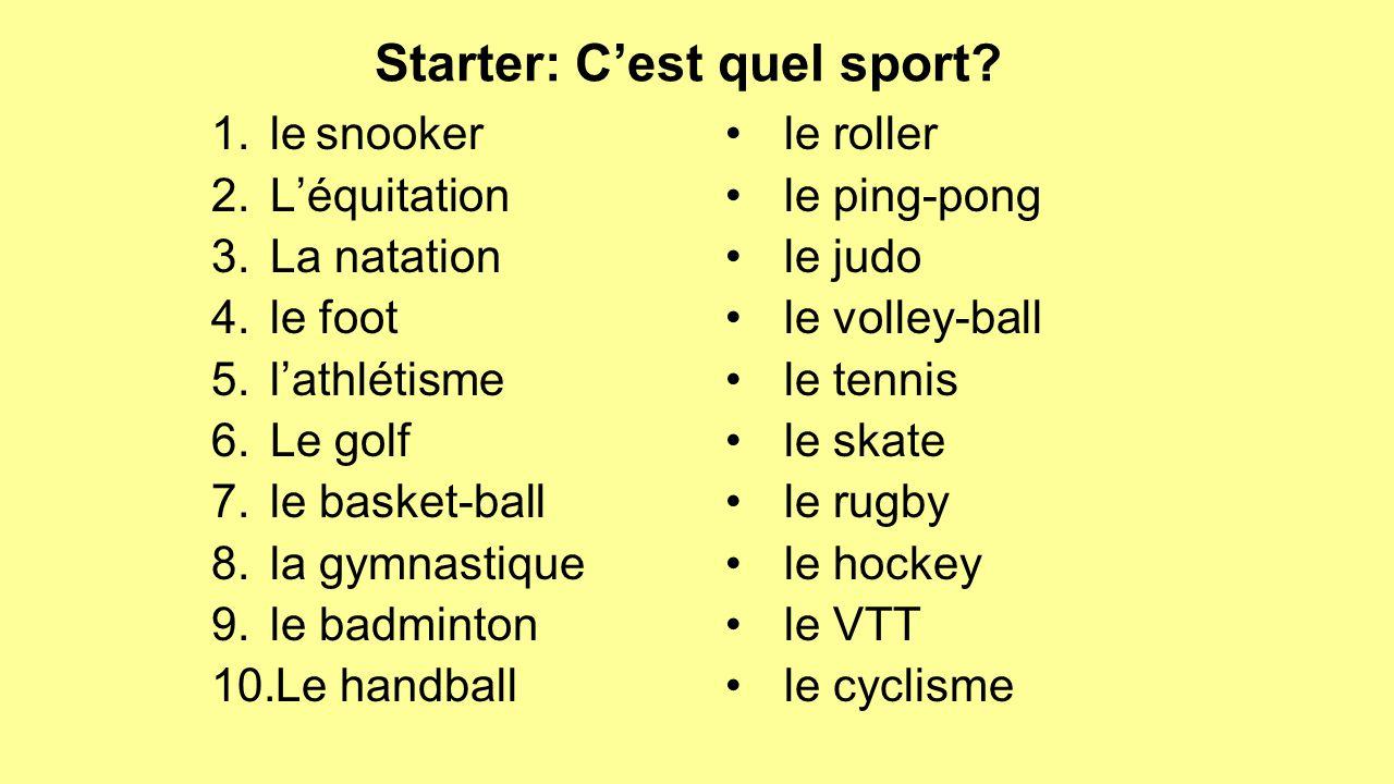 Starter: C'est quel sport.
