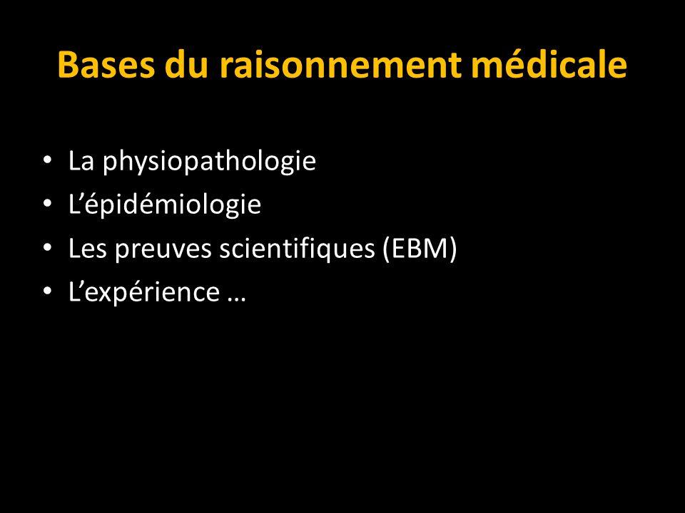 Bases du raisonnement médicale La physiopathologie L'épidémiologie Les preuves scientifiques (EBM) L'expérience …