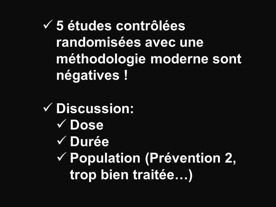 5 études contrôlées randomisées avec une méthodologie moderne sont négatives .