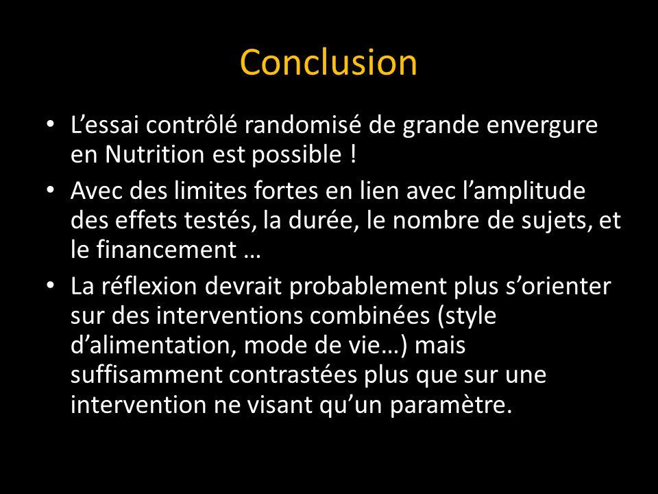 Conclusion L'essai contrôlé randomisé de grande envergure en Nutrition est possible .