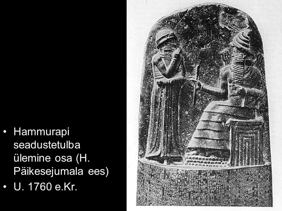 Hammurapi seadustetulba ülemine osa (H. Päikesejumala ees) U. 1760 e.Kr.