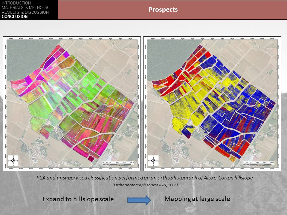 INTRODUCTION MATERIALS & METHODS RESULTS & DISCUSSION CONCLUSION Prospects PCA and unsupervised classification performed on an orthophotograph of Aloxe-Corton hillslope (Orthophotograph source IGN, 2006) Expand to hillslope scale Mapping at large scale