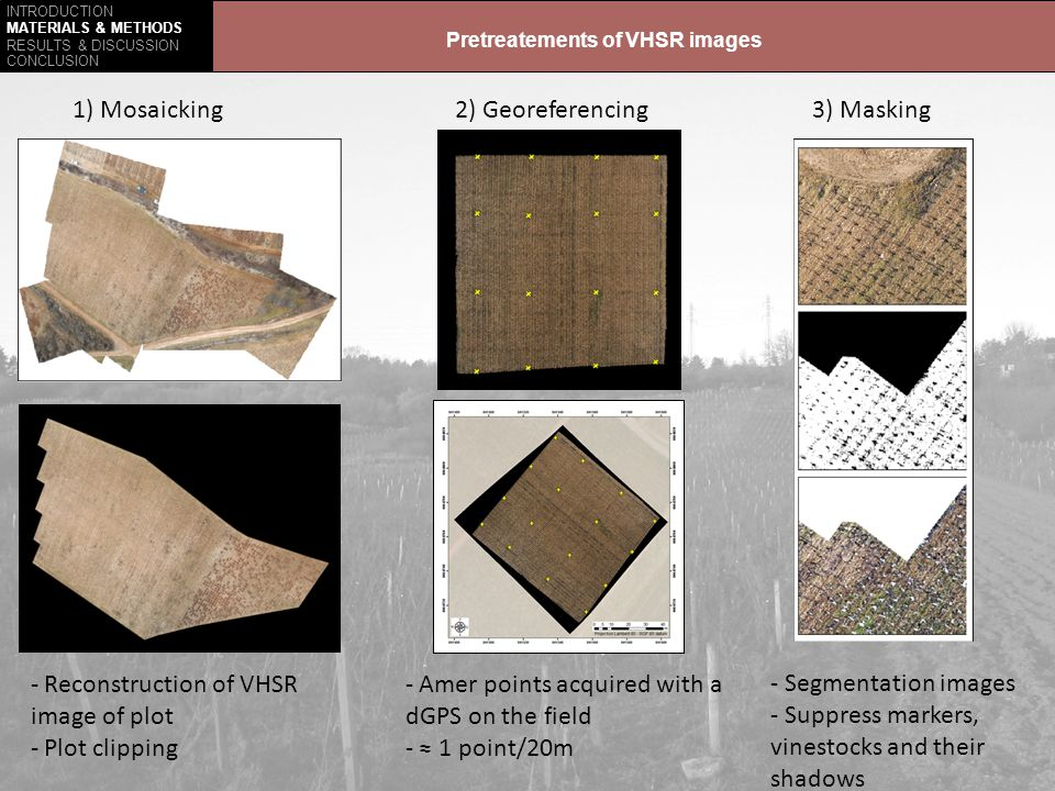 INTRODUCTION MATERIALS & METHODS RESULTS & DISCUSSION CONCLUSION Prospects VHSR images mosaic and unsupervised classification Expand to plot scaleMaking zonage, precision viticulture Orthophotograph of the plot (IGN, 2002)