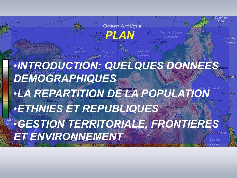 PLAN INTRODUCTION: QUELQUES DONNEES DEMOGRAPHIQUES LA REPARTITION DE LA POPULATION ETHNIES ET REPUBLIQUES GESTION TERRITORIALE, FRONTIERES ET ENVIRONNEMENT