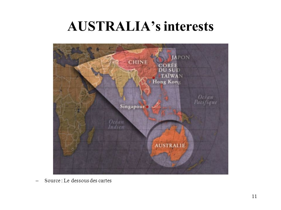 11 AUSTRALIA's interests –Source : Le dessous des cartes
