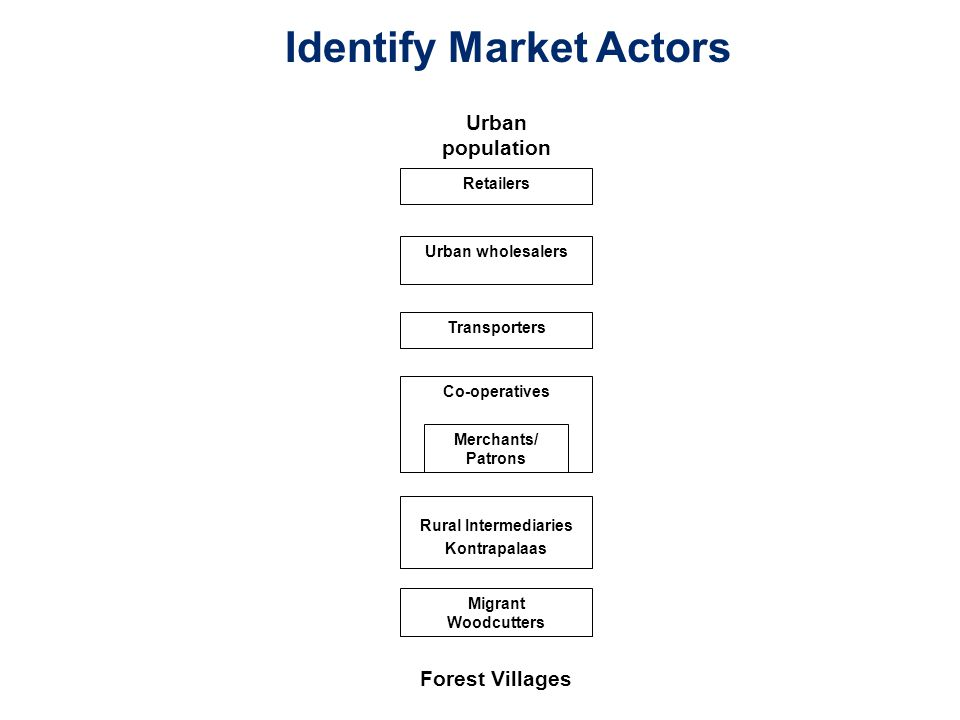 Urban population Retailers Urban wholesalers Transporters Co-operatives Merchants/ Patrons Migrant Woodcutters Forest Villages Rural Intermediaries Kontrapalaas Identify Market Actors