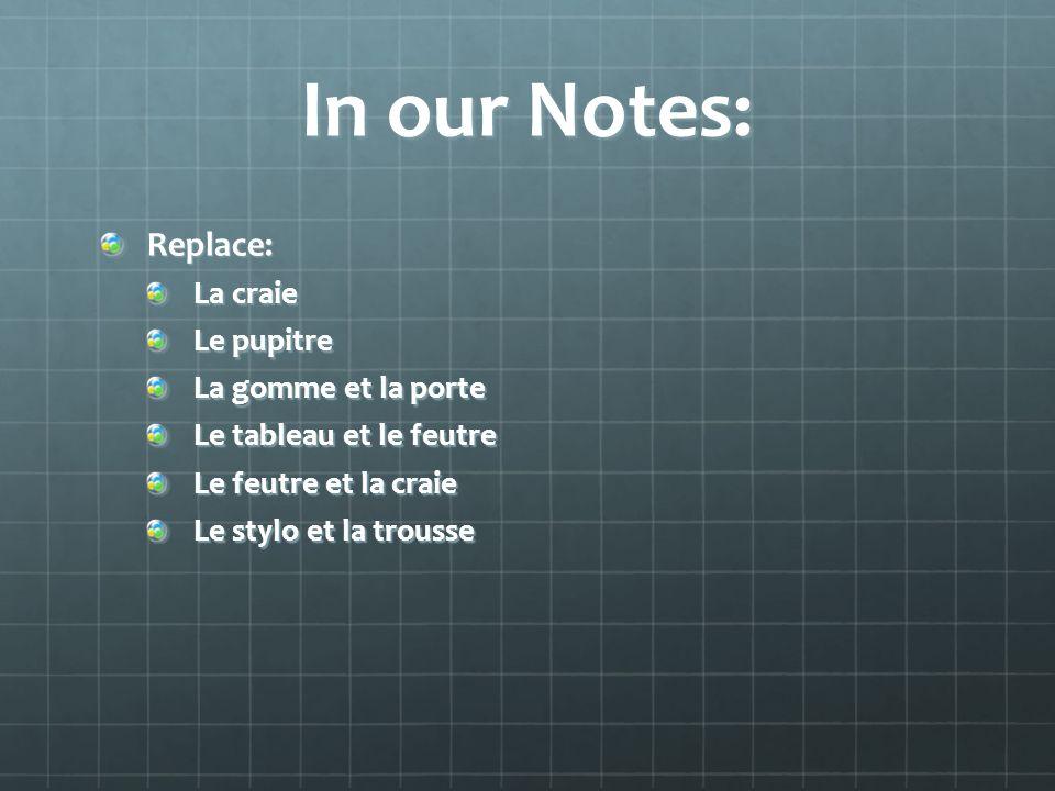 In our Notes: Replace: La craie Le pupitre La gomme et la porte Le tableau et le feutre Le feutre et la craie Le stylo et la trousse