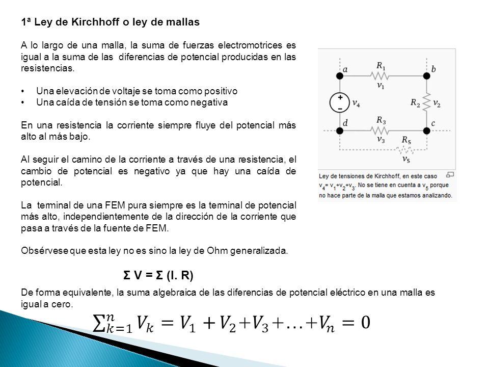1ª Ley de Kirchhoff o ley de mallas A lo largo de una malla, la suma de fuerzas electromotrices es igual a la suma de las diferencias de potencial pro