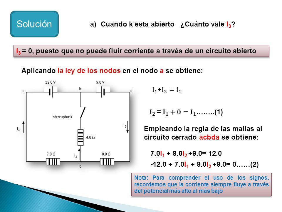 a)Cuando k esta abierto ¿Cuánto vale I 3 ? Solución I 3 = 0, puesto que no puede fluir corriente a través de un circuito abierto Aplicando la ley de l