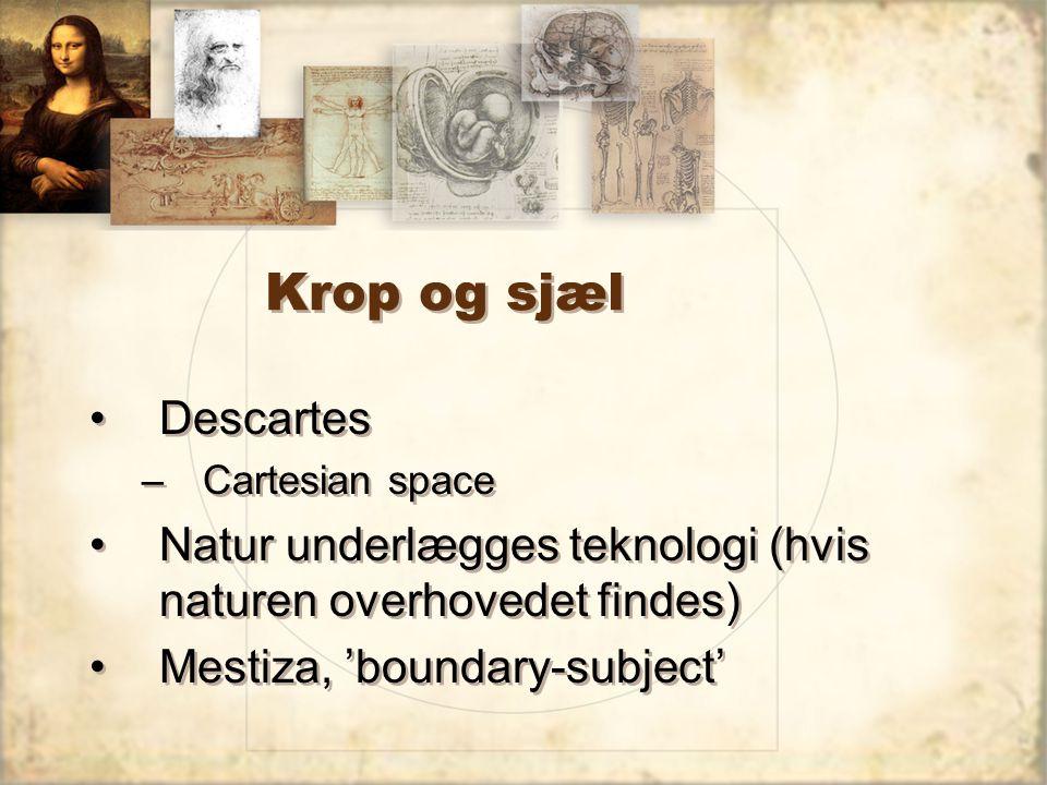 Krop og sjæl Descartes –Cartesian space Natur underlægges teknologi (hvis naturen overhovedet findes) Mestiza, 'boundary-subject' Descartes –Cartesian space Natur underlægges teknologi (hvis naturen overhovedet findes) Mestiza, 'boundary-subject'