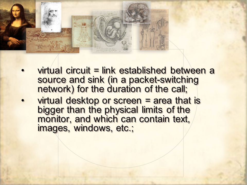 virtual circuit = link established between a source and sink (in a packet-switching network) for the duration of the call; virtual desktop or screen =