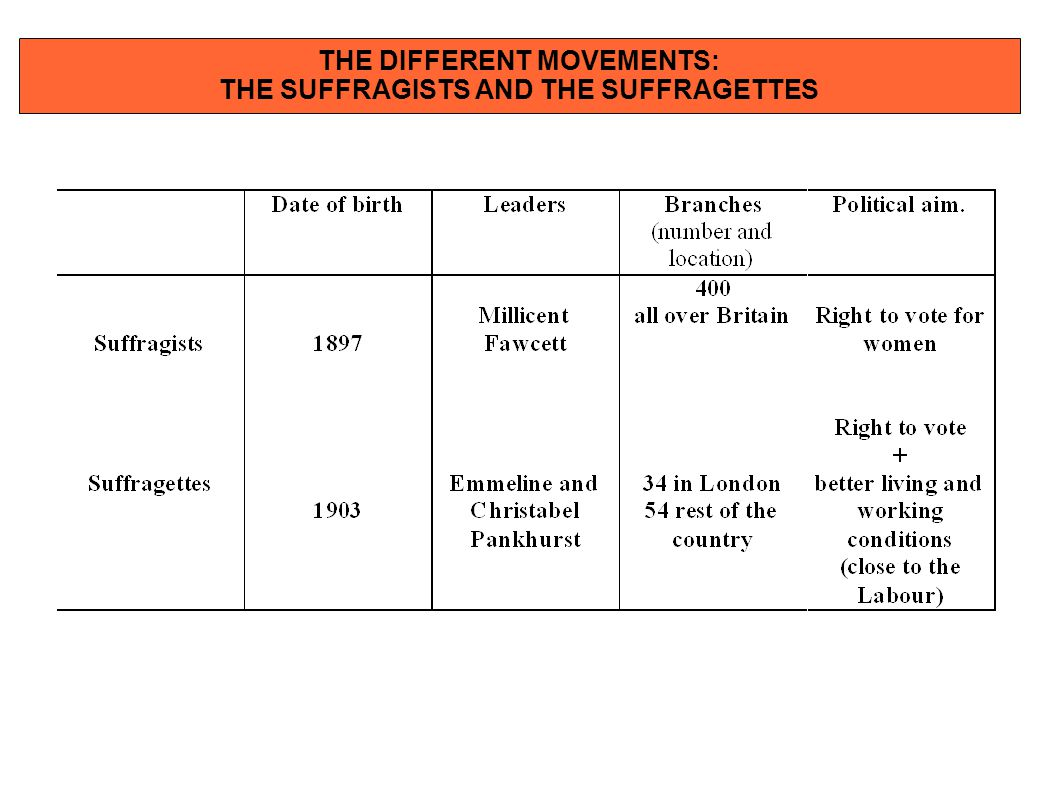 THE DIFFERENT MOVEMENTS: THE SUFFRAGISTS AND THE SUFFRAGETTES