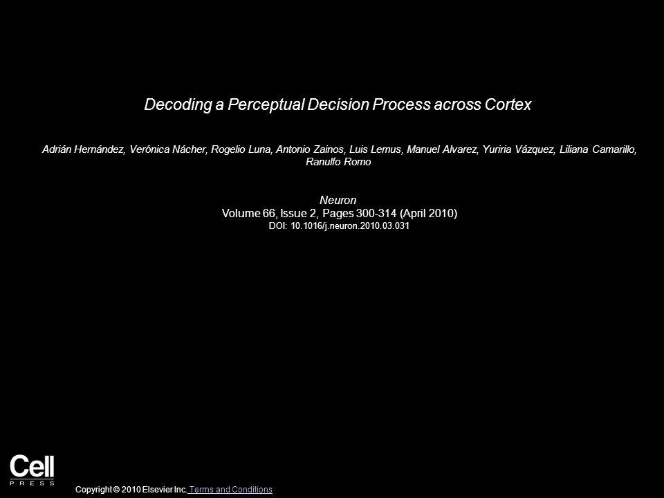 Decoding a Perceptual Decision Process across Cortex Adrián Hernández, Verónica Nácher, Rogelio Luna, Antonio Zainos, Luis Lemus, Manuel Alvarez, Yuriria Vázquez, Liliana Camarillo, Ranulfo Romo Neuron Volume 66, Issue 2, Pages 300-314 (April 2010) DOI: 10.1016/j.neuron.2010.03.031 Copyright © 2010 Elsevier Inc.