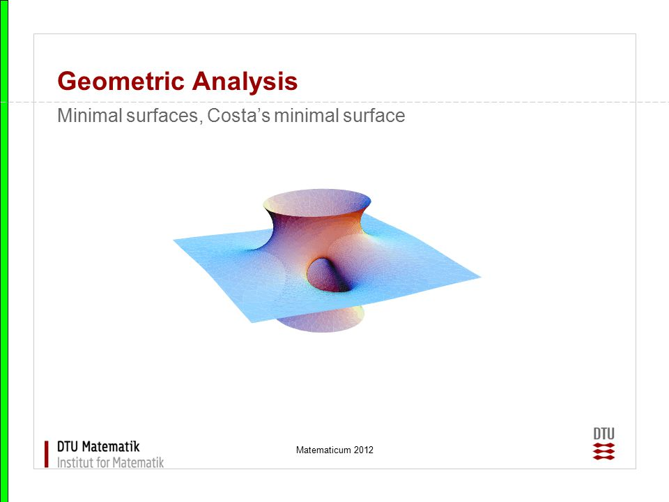 Matematicum 2012 Geometric Analysis Minimal surfaces, Costa's minimal surface