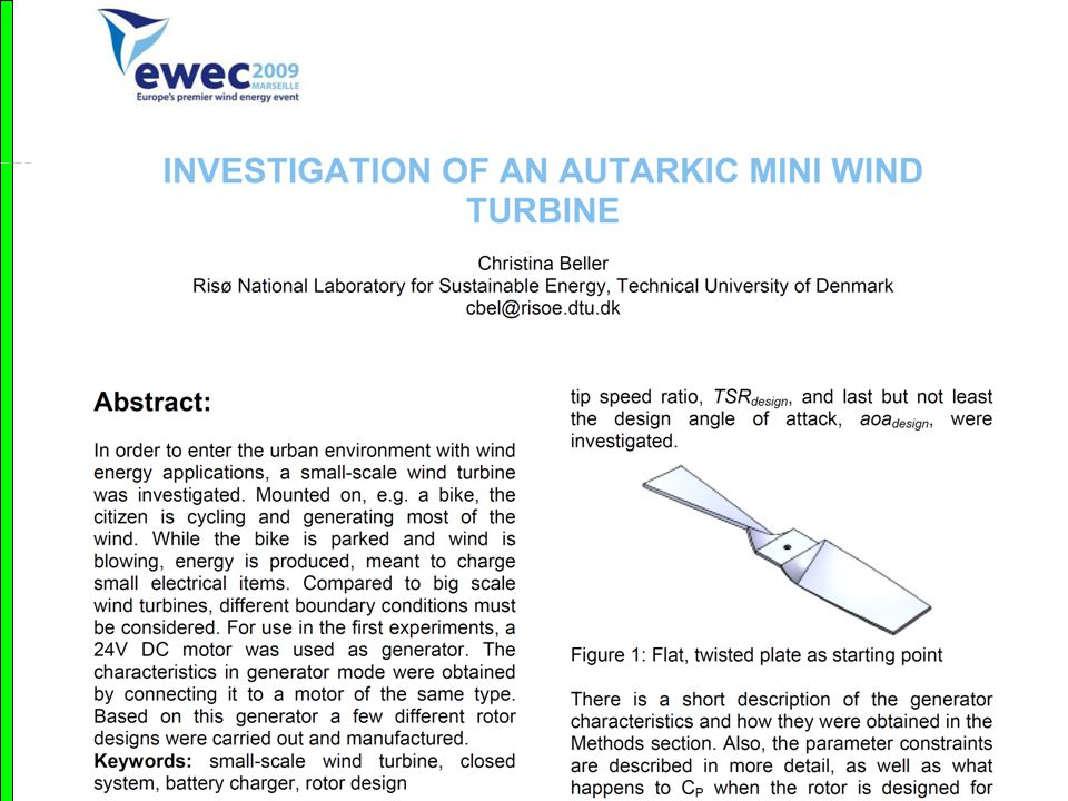 Matematicum 2012 Geometric Analysis Autarkic mini wind turbines