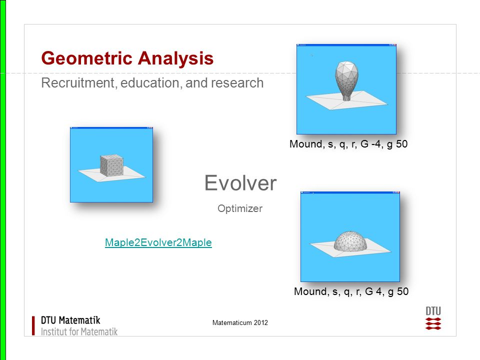 Matematicum 2012 Geometric Analysis Evolver Optimizer Recruitment, education, and research Maple2Evolver2Maple Mound, s, q, r, G 4, g 50 Mound, s, q,