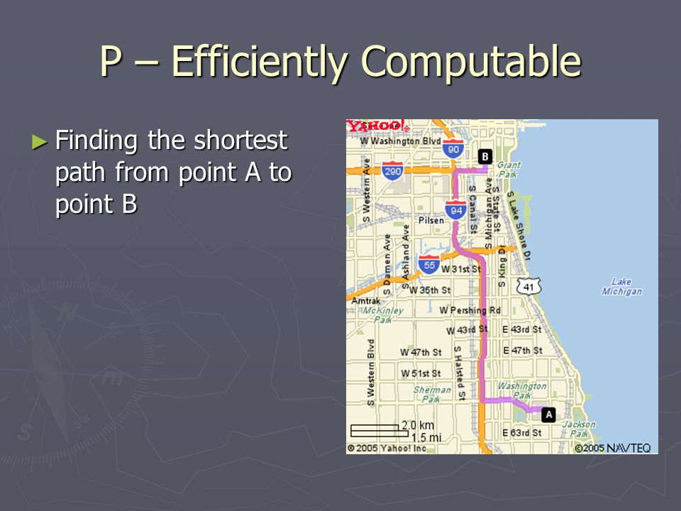 P – Efficiently Computable ► Finding the shortest path from point A to point B