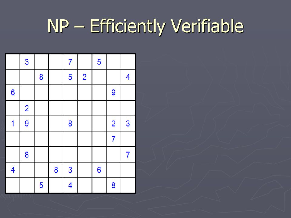 NP – Efficiently Verifiable