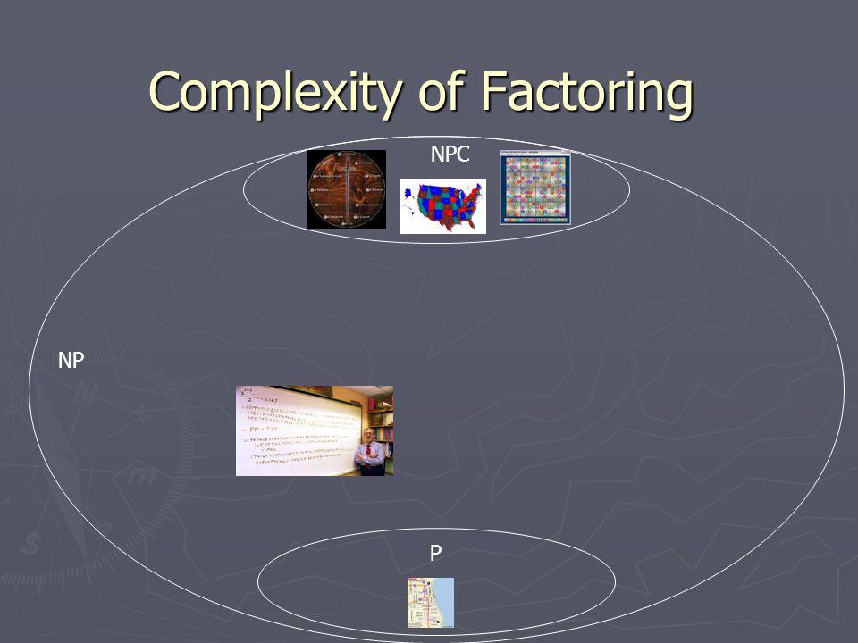 Complexity of Factoring NP P NPC