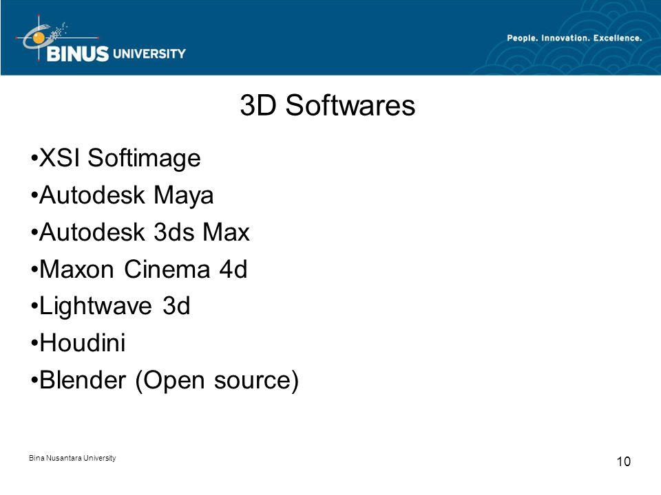 Bina Nusantara University 10 3D Softwares XSI Softimage Autodesk Maya Autodesk 3ds Max Maxon Cinema 4d Lightwave 3d Houdini Blender (Open source)
