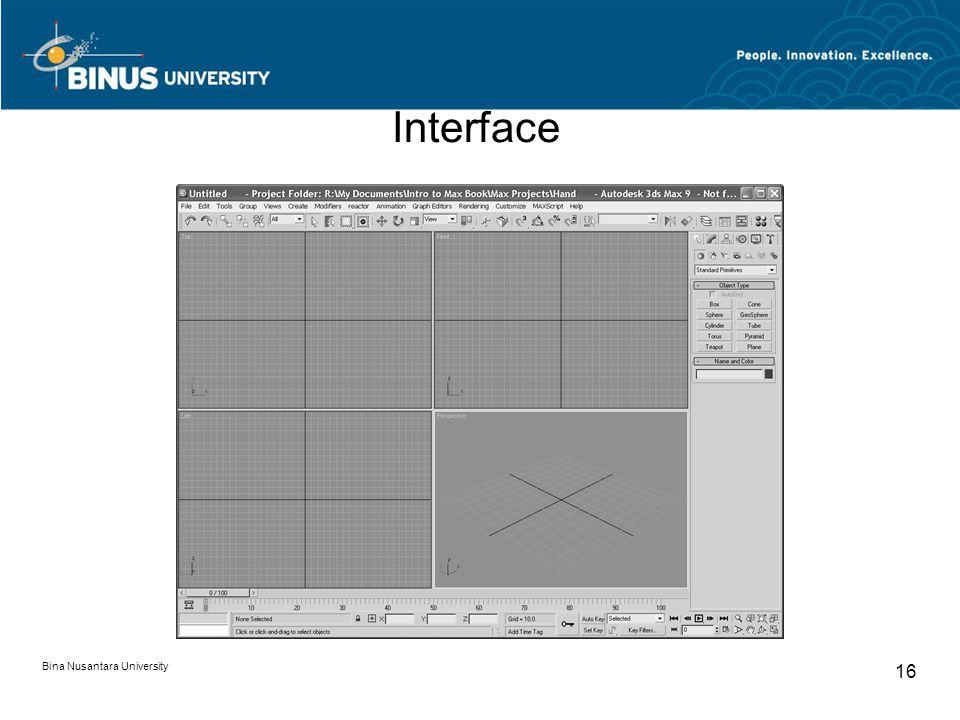 Bina Nusantara University 16 Interface